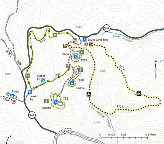 Lincoln National Forest Silver-Saddle-Apache-Fir Trails Map