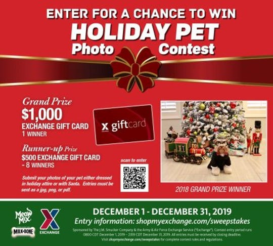 Deck the paws! The Exchange's holiday pet photo contest is back! Through Dec. 31, military shoppers can submit photos of their pets dressed in holiday attire or with Santa for a chance to win a $1,000 Exchange gift card.