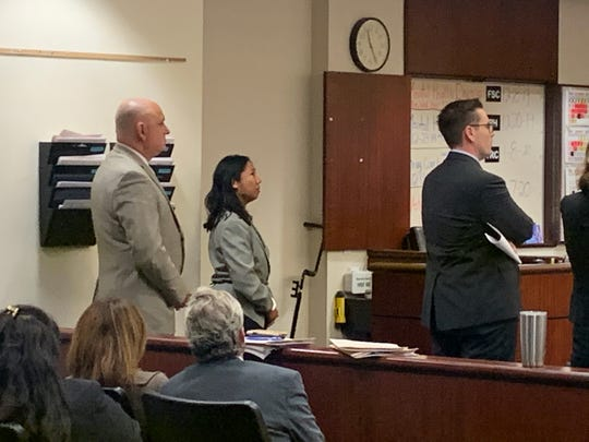 Cristina Noelle Canimo, 32, appears in Riverside County Superior Court Monday, Dec. 9, 2019. She's accused of killing La Quinta resident Ronald Clarke, whose body was discovered in a trash bin on Nov. 21.