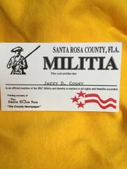 Jerry Couey's militia card from 1994.