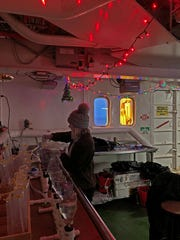 The crew set up some festive decorations to get into the holiday spirit.