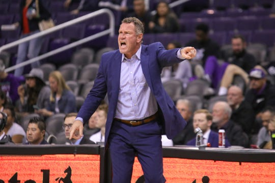 GCU Head Coach Dan Majerle shouts to his team during the Air Force Reserve Jerry Colangelo Classic on Dec. 8, 2019 at Talking Stick Resort Arena in Phoenix, AZ. (Brady Klain/The Republic)