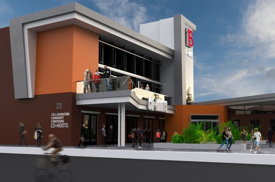 A side view design rendering of Co+Hoots Mesa.