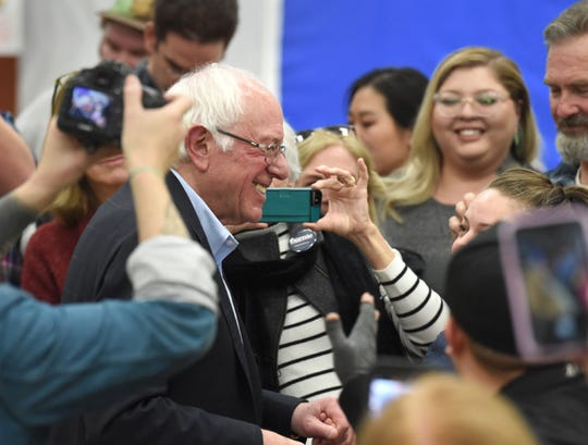 Sen. Bernie Sanders works the crowd after speaking at the Stewart Community Center in Carson City on Monday, Dec. 9, 2019.