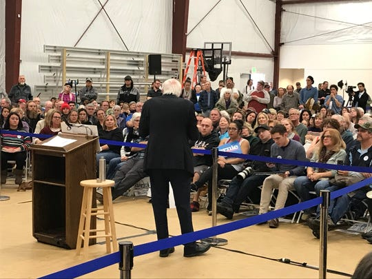 Sen. Bernie Sanders addresses the crowd at a town hall at Stewart Community Center in Carson City on Monday, Dec. 9, 2019.