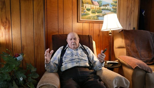 Robert Schlosser, 92, talks about the the murder of his daughter Cathleen, in his home in Pellston, MI Tuesday, Dec. 3, 2019.  Cathleen was murdered in Feb. 1982 in her home in Brighton. Her husband James Krauseneck was charged with her murder in November of this year.