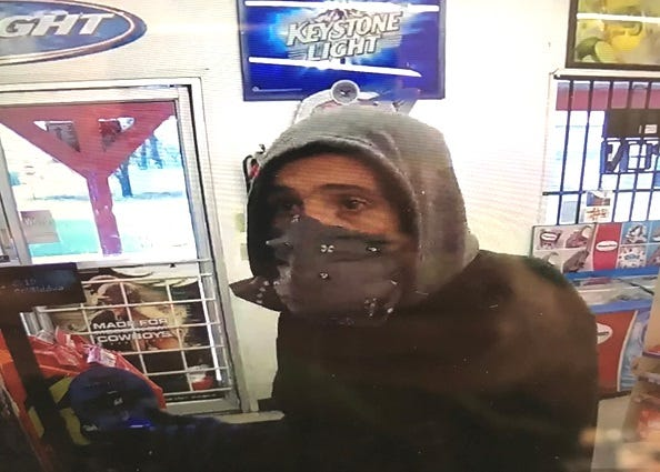 A surveillance camera took this photo of a man who allegedly robbed the Midway Market on Sunday. Shasta County sheriff's deputies are still looking for the man.