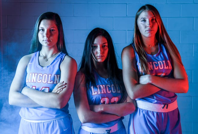 Lincoln High School's Emma Osmundson, Brooke Brown and Morgan Hansen pose for a portrait during basketball media day on Saturday, Dec. 7, 2019 at the Argus Leader.