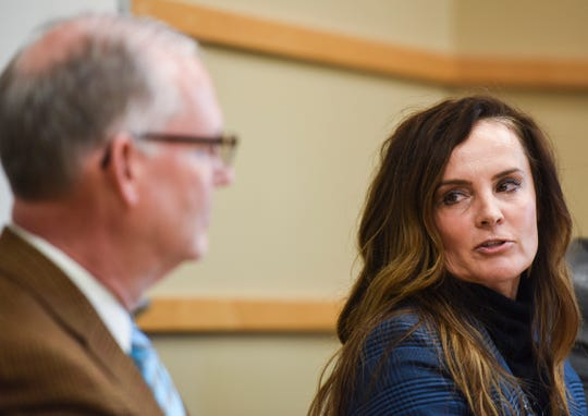 School board president Cynthia Mickelson speaks during superintendent Brian Maher's resignation on Monday, Dec. 9, 2019 at the Sioux Falls School District Office.