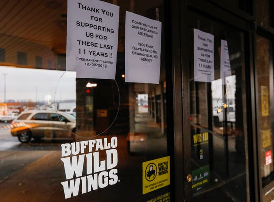 The Buffalo Wild Wings location on Kansas Expressway has closed.