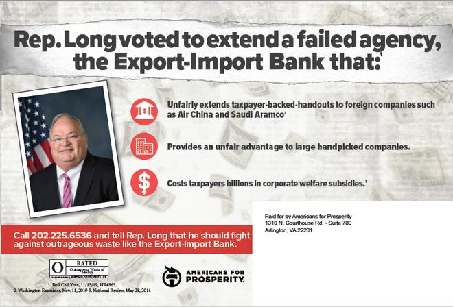The back of an Americans for Prosperity direct mail advertisement targeting Billy Long, R-Missouri, for his support of the federal Export-Import Bank.