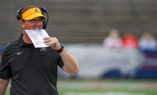 Appalachian State head coach Eliah Drinkwitz paces the sidelines during the second half of an NCAA college football game against South Alabama, Saturday, Oct. 26, 2019, at Ladd-Peebles Stadium in Mobile, Ala.