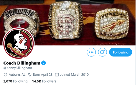 The updated Twitter account for new Florida State offensive coordinator Kenny Dillingham.
