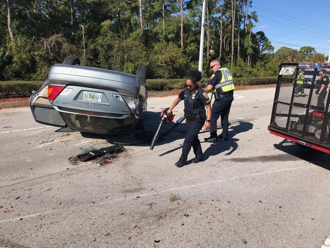 The crash involved three cars and one trailer, according to the Port St. Lucie Police Department. Two people were transported to local hospitals with minor injuries Monday, December 9, 2019.