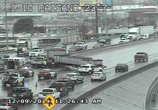 A semi-truck jackknifed on Interstate 10 west of Bassett Place in Central El Paso on Monday, Dec. 9, 2019.