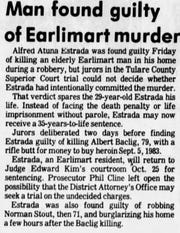 An article about Alfred Estrada's conviction appeared in the Oct. 5, 1985 edition of the Tulare Advance-Register.