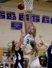 Grace Thybulle of Irvington goes to the basket against Putnam Valley during a varsity girls basketball game at Irvington High School Dec. 9, 2019. Irvington defeated Putnam Valley 47-45.