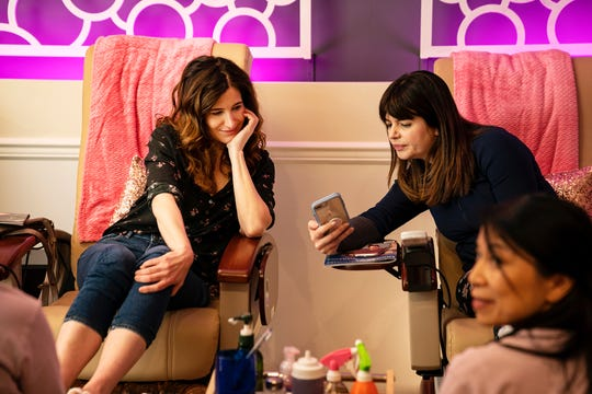 "Actresses Casey Wilson, right, and Kathryn Hahn,  left, in the HBO limited series, ""Mrs. Fletcher."" The scene was shot at Cocoa Nail & Spa in Harrison."