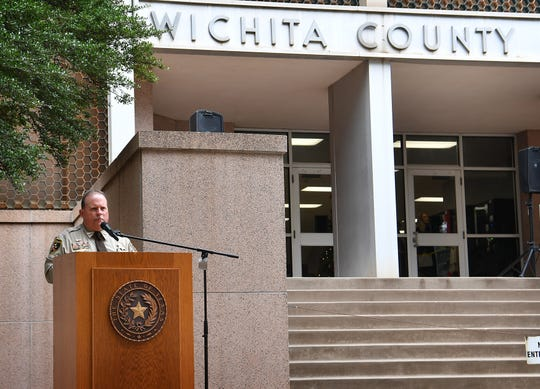 Wichita County Sheriff David Duke speaks from the steps of the courthouse Monday as he announced he will run for re-election.