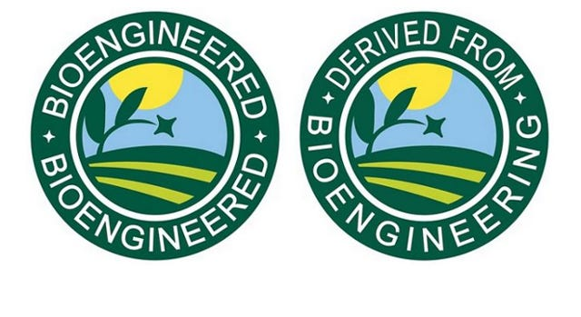 Label required by Jan. 1, 2022, on food products containing bioengineered products and byproducts.