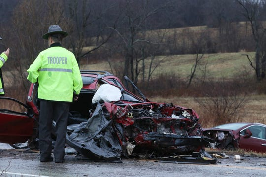 Five people were taken to the hospital after a head-on collison on Monday on Northpointe Drive in Falls Township.