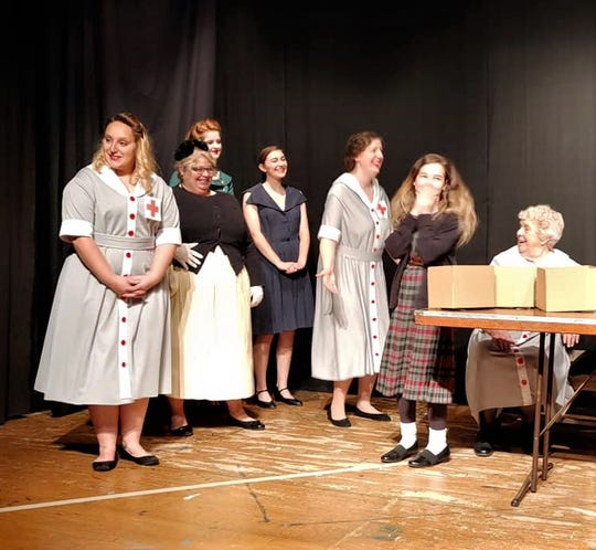A scene from the Angel Tree Benefit production set at the Red Cross in the 1940s featuring Allison Mudgett, Dee McCarthy, Allie Norman, Rachelle Snyder, Christy Rahrig, Amelia Olinger Shaffstall and Eileen Jackson.
