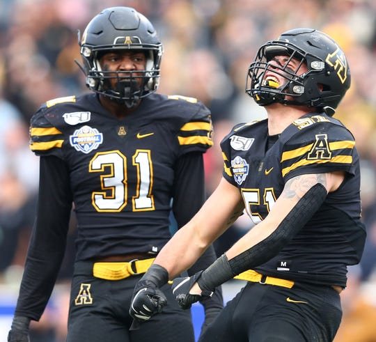 Appalachian State's Nick Hampton (31) and Tyler Bird