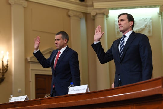 Republican staff attorney Steve Castor, left, and Democratic staff attorney Daniel Goldman are sworn in to testify as the House Judiciary Committee receives counsel presentations of evidence as part of the impeachment inquiry into President Donald Trump on Dec. 9, 2019 in Washington.