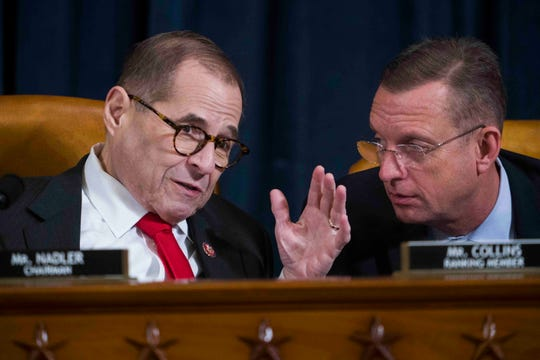 House Judiciary Committee Chairman Jerry Nadler and Republican leader Doug Collins at the impeachment hearing Dec. 9.