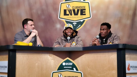 Green Bay Packers running back Aaron Jones (center) co-hosted Monday's Clubhouse Live show in Appleton. Jones' guest was Packers cornerback Josh Jackson (right). USA TODAY NETWORK-Wisconsin's Brett Christopherson (left) also co-hosted the show.