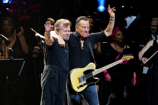 John Mellencamp (L) and Bruce Springsteen perform onstage during the The Rainforest Fund 30th Anniversary Benefit Concert Presents 'We'll Be Together Again' at Beacon Theatre on December 09, 2019 in New York City.