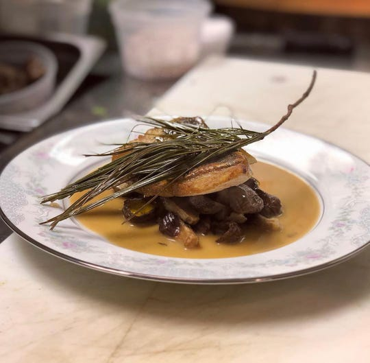 John Dory with porcini, porcini jus, and essence of white pine, at Park Place in Merchantville.