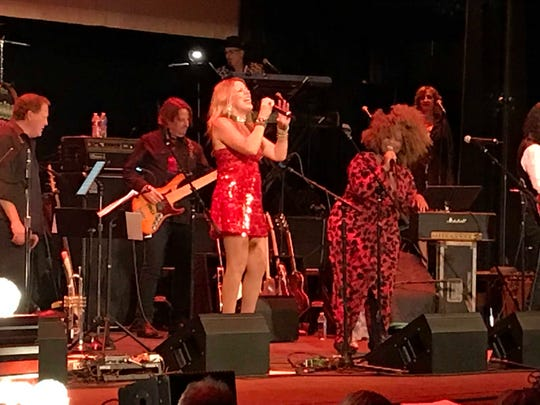 CC Coletti and Desiree Spinks sing at the A Very Asbury Holiday Show  Dec. 8, 2019 at the Paramount Theatre in Asbury Park.