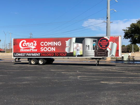 A trailer announcing that Conn's HomePlus is coming to the Mall of Abilene is stationed at the Sears parking lot at the Mall of Abilene on Tuesday, Dec. 10, 2019.