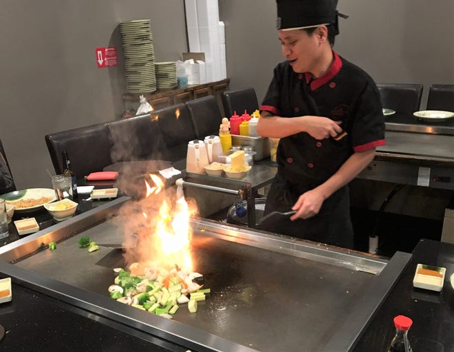 The star of the show at Kume Hibachi and Steakhouse is often the grillmaster as customers get a grill-side seat.