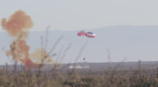 Boeing's Starliner Nov. 2019 pad abort test in which only 2 of the 3 main parachutes deployed.