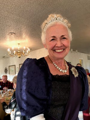 Decked out as royalty, Connie Humphrey made Queen Victoria come alive during a High Tea Nov. 15at the Cambridge Country Club. Members of the Ohio Association of Garden Clubs from across the state, including threefrom the Bucyrus area, attended.