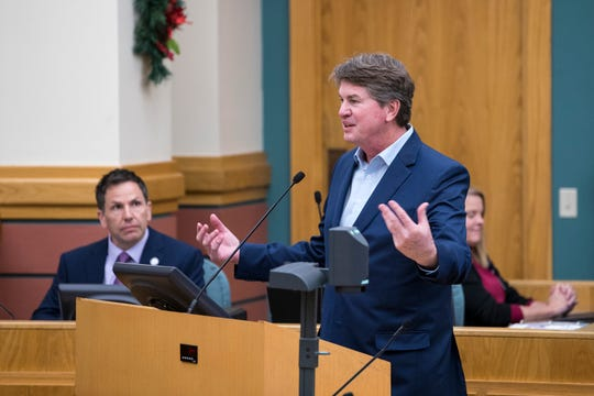Developer Jeff Blackard addresses the City Council regarding a proposed North Beach canal during public comment on Tuesday, December 10, 2019. He told council they could either decide to build a ditch or a canal, but they had to do something.