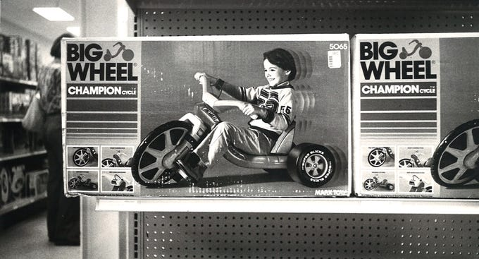 The popular Big Wheel tricycle was on sale for $17.87 at Best Products on S. Padre Island Drive in December 1978.