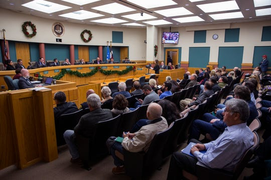 The city council chambers were packed on Tuesday, December 10, 2019 as residents came before the council to speak on a number of issues including the development of North Beach and a proposed homeless shelter at the former Lamar Elementary School.