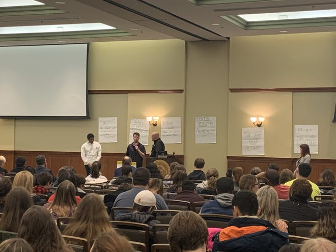 A Rowan University student gives an impromptu presentation on his tactics for preserving his own mental health.