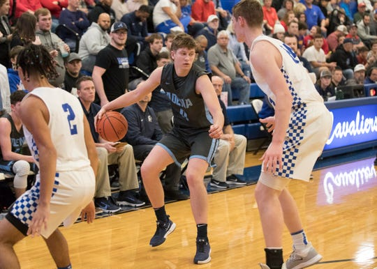 Adena's Logan Bennett dribbles the ball during a game at Chillicothe High School on Monday, Dec. 9, 2019, in Chillicothe, Ohio.