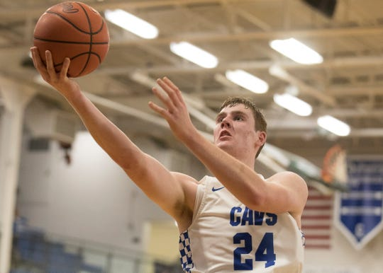 Chillicothe's Brandon Noel takes it to the net Monday night at Chillicothe High School against Adena on Dec. 9, 2019. Chillicothe defeated Adena 78-44.