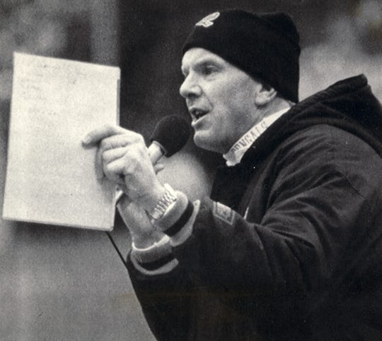 Bengals coach Sam Wyche speaks over the public address system Sunday, December 10, 1989, to appeal to fans after several snowballs were thrown on the field int he fourth quarter. Wyche also took a swipe at Cleveland fans.
