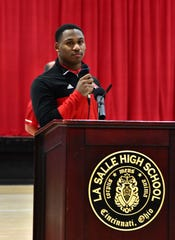 La Salle Senior Cam Porter shares a few thoughts with the Lancers fans at their OHSAA Division II football title celebration, December 9, 2019.
