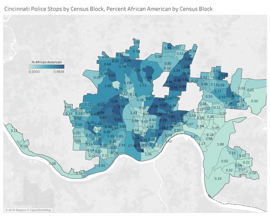 In Cincinnati, police made 79 percent more total stops per person in predominantly black areas than in predominantly white areas.