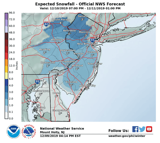 Snow forecast for Dec. 10, 2019 in New Jersey.