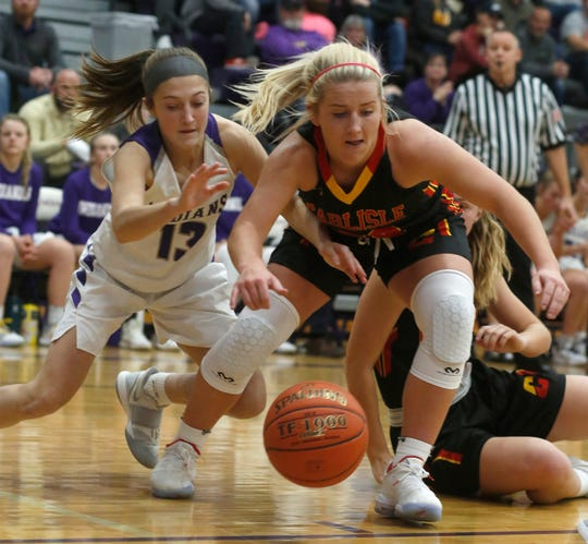 Indianola freshman Brynn Ortlund and Carlisle senior Kennedy Preston scramble after a loose ball. Indianola hosted Carlisle on Dec. 9, beating the Wildcats 69-47.