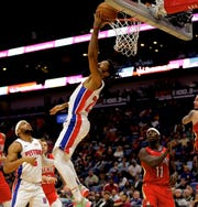 Pistons guard Derrick Rose shoots against the Pelicans during the second quarter of the 105-103 win over the Pelicans on Monday, Dec. 9, 2019, in New Orleans.