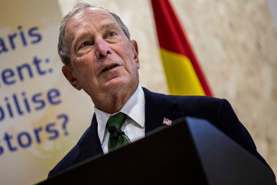 Democratic presidential contender Michael Bloomberg attends a sustainable finance panel at the COP25 summit in Madrid, Tuesday Dec. 10, 2019.